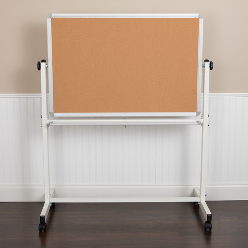 "HERCULES Series 45.25""W x 54.75""H Reversible Mobile Cork Bulletin Board & White Board w/Pen Tray"
