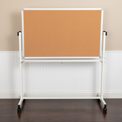 "HERCULES Series 53""W x 59""H Reversible Mobile Cork Bulletin Board & White Board w/Pen Tray"