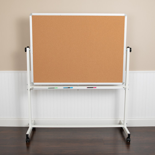 "HERCULES Series 53""W x 62.5""H Reversible Mobile Cork Bulletin Board & White Board w/Pen Tray"