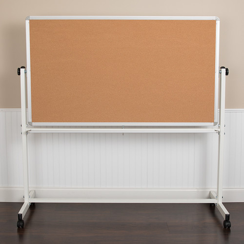 "HERCULES Series 62.5""W x 62.25""H Reversible Mobile Cork Bulletin Board & White Board w/Pen Tray"