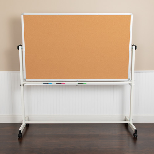 "HERCULES Series 64.25""W x 64.75""H Reversible Mobile Cork Bulletin Board & White Board w/Pen Tray"