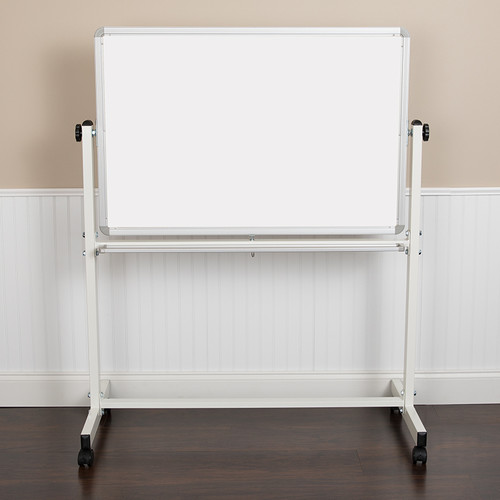 "HERCULES Series 45.25""W x 54.75""H Double-Sided Mobile White Board w/Pen Tray"