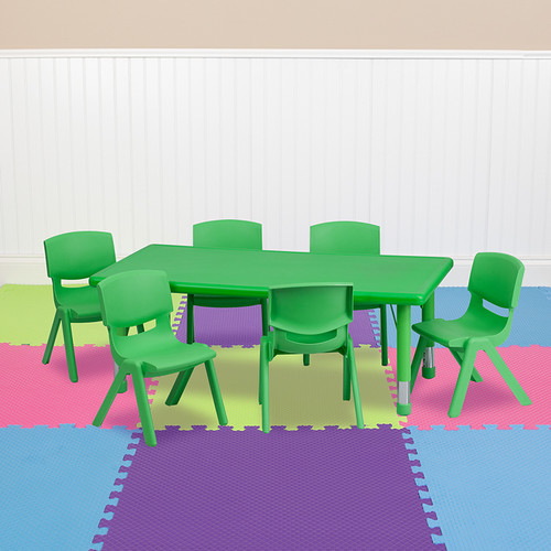 24''W x 48''L Rectangular Green Plastic Height Adjustable Activity Table Set w/6 Chairs