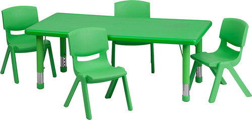 24''W x 48''L Rectangular Green Plastic Height Adjustable Activity Table Set w/4 Chairs