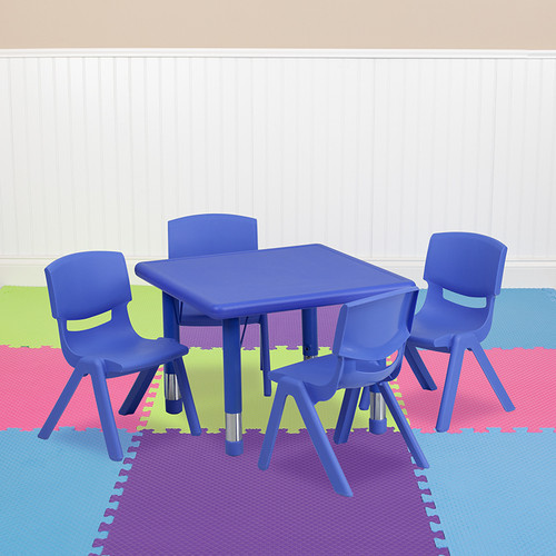 24'' Square Blue Plastic Height Adjustable Activity Table Set w/4 Chairs