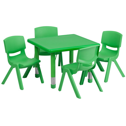 24'' Square Green Plastic Height Adjustable Activity Table Set w/4 Chairs