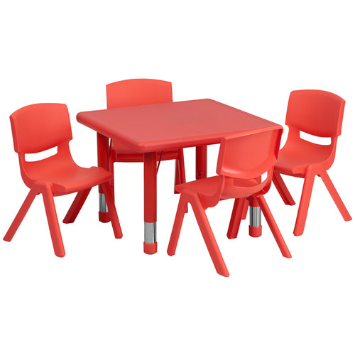 24'' Square Red Plastic Height Adjustable Activity Table Set w/4 Chairs