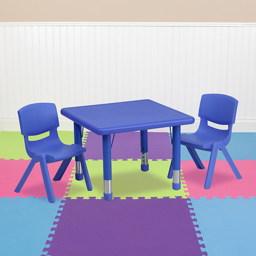 24'' Square Blue Plastic Height Adjustable Activity Table Set w/2 Chairs