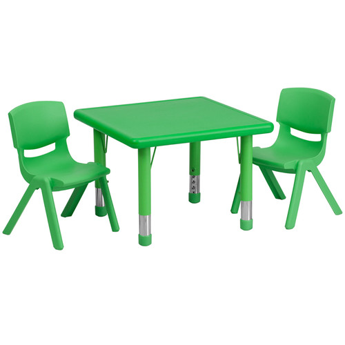 24'' Square Green Plastic Height Adjustable Activity Table Set w/2 Chairs