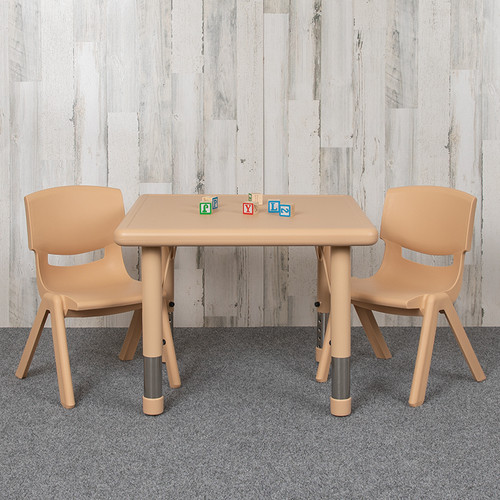 """24"""" Square Natural Plastic Height Adjustable Activity Table Set w/2 Chairs"""