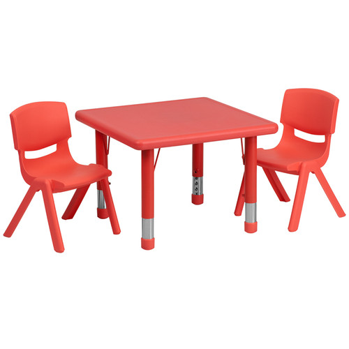 24'' Square Red Plastic Height Adjustable Activity Table Set w/2 Chairs