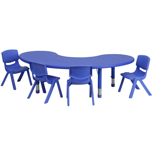 35''W x 65''L Half-Moon Blue Plastic Height Adjustable Activity Table Set w/4 Chairs