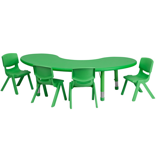 35''W x 65''L Half-Moon Green Plastic Height Adjustable Activity Table Set w/4 Chairs