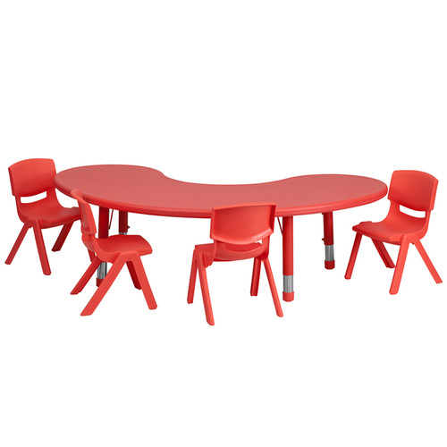 35''W x 65''L Half-Moon Red Plastic Height Adjustable Activity Table Set w/4 Chairs