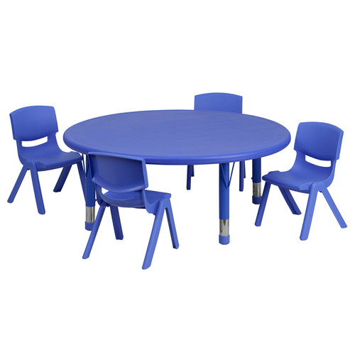 45'' Round Blue Plastic Height Adjustable Activity Table Set w/4 Chairs
