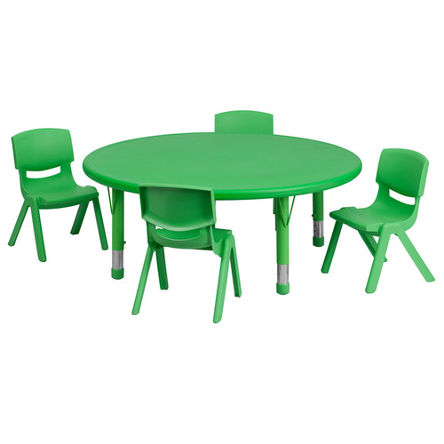 45'' Round Green Plastic Height Adjustable Activity Table Set w/4 Chairs