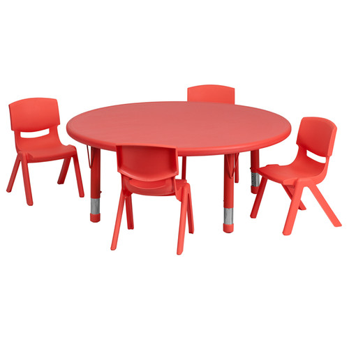 45'' Round Red Plastic Height Adjustable Activity Table Set w/4 Chairs