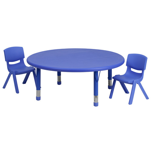 45'' Round Blue Plastic Height Adjustable Activity Table Set w/2 Chairs