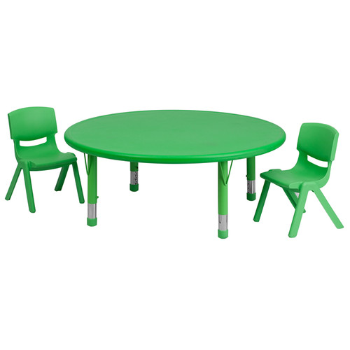 45'' Round Green Plastic Height Adjustable Activity Table Set w/2 Chairs