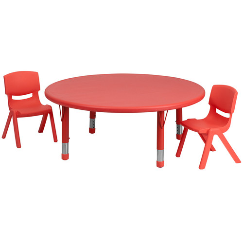 45'' Round Red Plastic Height Adjustable Activity Table Set w/2 Chairs