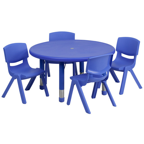 33'' Round Blue Plastic Height Adjustable Activity Table Set w/4 Chairs