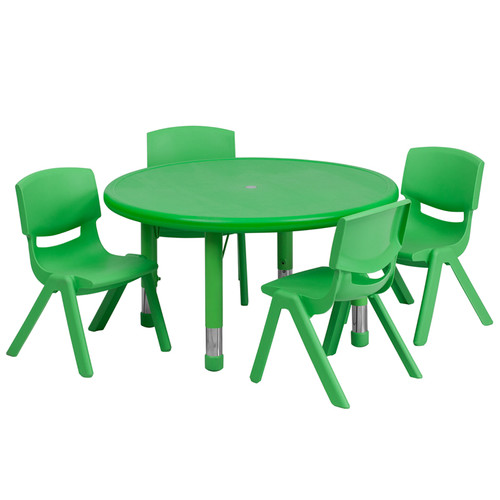 33'' Round Green Plastic Height Adjustable Activity Table Set w/4 Chairs