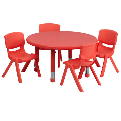 33'' Round Red Plastic Height Adjustable Activity Table Set w/4 Chairs
