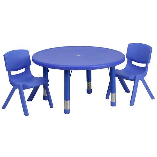 33'' Round Blue Plastic Height Adjustable Activity Table Set w/2 Chairs
