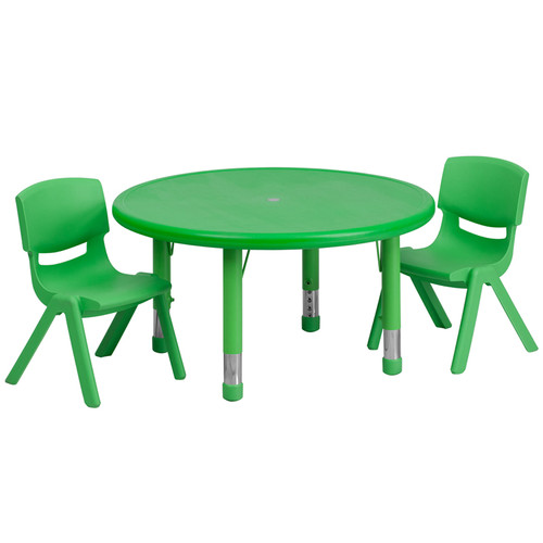 33'' Round Green Plastic Height Adjustable Activity Table Set w/2 Chairs