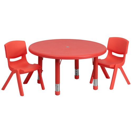 33'' Round Red Plastic Height Adjustable Activity Table Set w/2 Chairs
