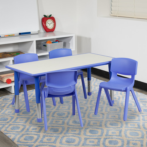 23.625''W x 47.25''L Rectangular Blue Plastic Height Adjustable Activity Table Set w/4 Chairs