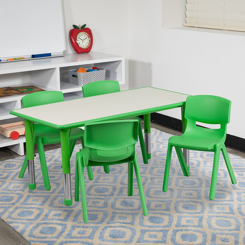 23.625''W x 47.25''L Rectangular Green Plastic Height Adjustable Activity Table Set w/4 Chairs