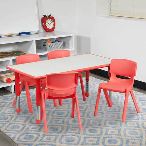 23.625''W x 47.25''L Rectangular Red Plastic Height Adjustable Activity Table Set w/4 Chairs