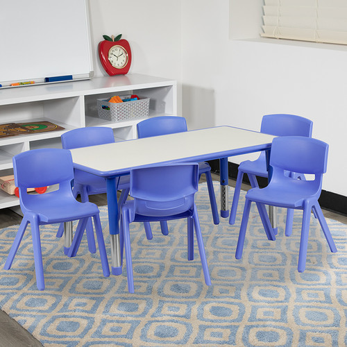 23.625''W x 47.25''L Rectangular Blue Plastic Height Adjustable Activity Table Set w/6 Chairs