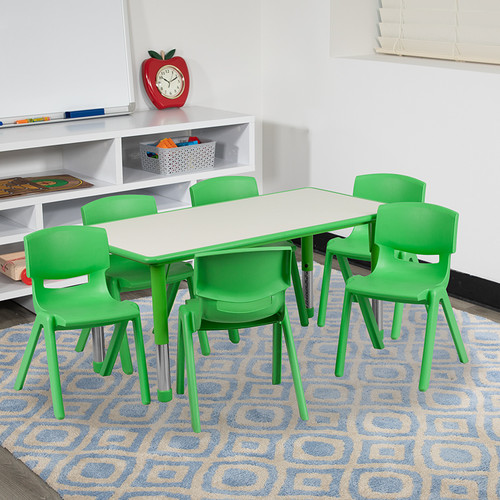 23.625''W x 47.25''L Rectangular Green Plastic Height Adjustable Activity Table Set w/6 Chairs
