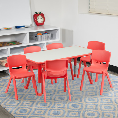 23.625''W x 47.25''L Rectangular Red Plastic Height Adjustable Activity Table Set w/6 Chairs