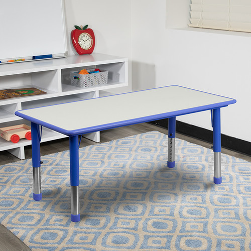 23.625''W x 47.25''L Rectangular Blue Plastic Height Adjustable Activity Table w/Grey Top