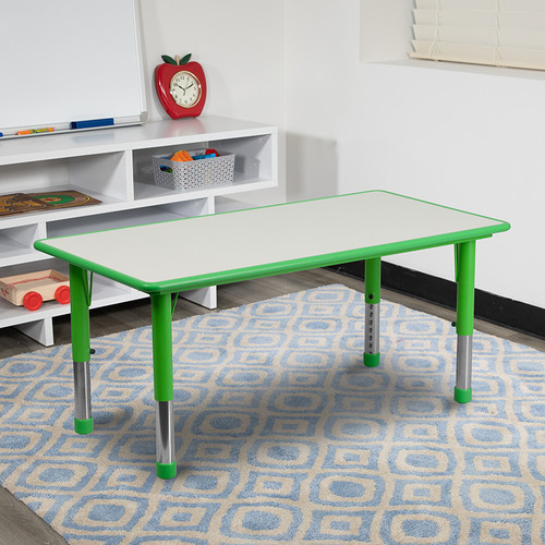 23.625''W x 47.25''L Rectangular Green Plastic Height Adjustable Activity Table w/Grey Top