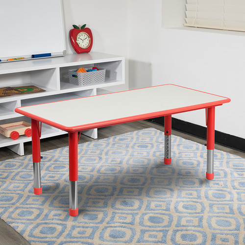23.625''W x 47.25''L Rectangular Red Plastic Height Adjustable Activity Table w/Grey Top