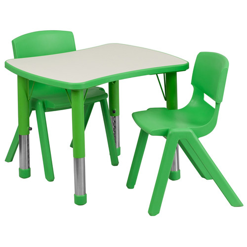 21.875''W x 26.625''L Rectangular Green Plastic Height Adjustable Activity Table Set w/2 Chairs