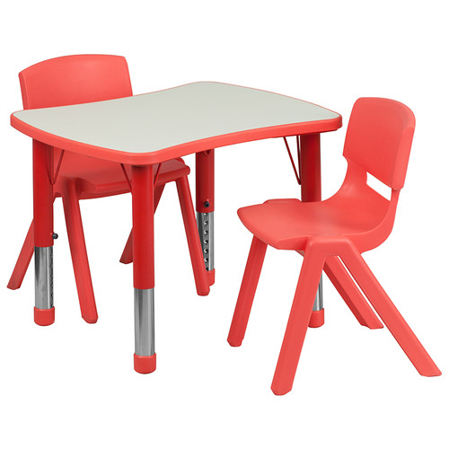 21.875''W x 26.625''L Rectangular Red Plastic Height Adjustable Activity Table Set w/2 Chairs