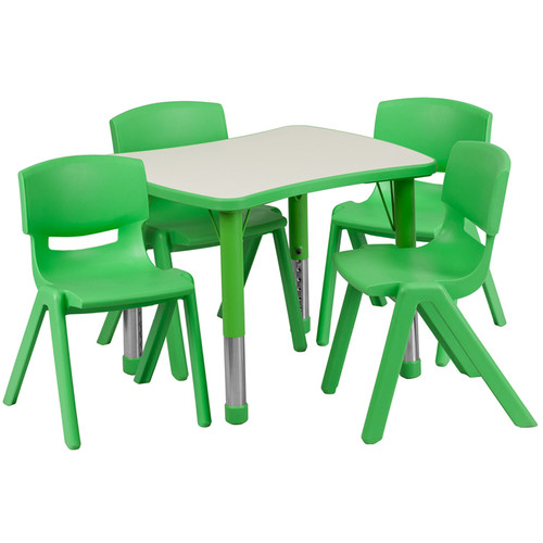 21.875''W x 26.625''L Rectangular Green Plastic Height Adjustable Activity Table Set w/4 Chairs