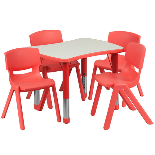 21.875''W x 26.625''L Rectangular Red Plastic Height Adjustable Activity Table Set w/4 Chairs