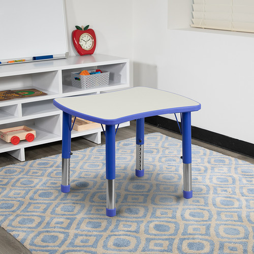 21.875''W x 26.625''L Rectangular Blue Plastic Height Adjustable Activity Table w/Grey Top