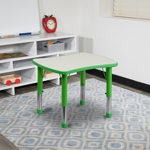 21.875''W x 26.625''L Rectangular Green Plastic Height Adjustable Activity Table w/Grey Top