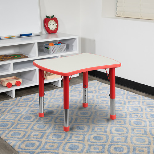 21.875''W x 26.625''L Rectangular Red Plastic Height Adjustable Activity Table w/Grey Top