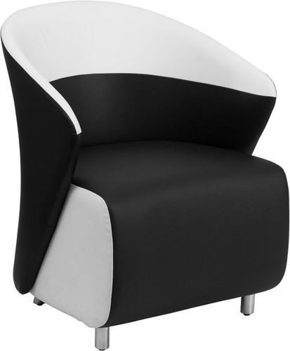 Black LeatherSoft Curved Barrel Back Lounge Chair w/Melrose White Detailing