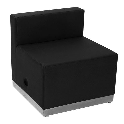 HERCULES Alon Series Black LeatherSoft Chair w/Brushed Stainless Steel Base