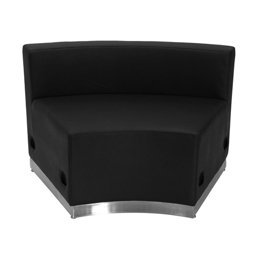 HERCULES Alon Series Black LeatherSoft Concave Chair w/Brushed Stainless Steel Base