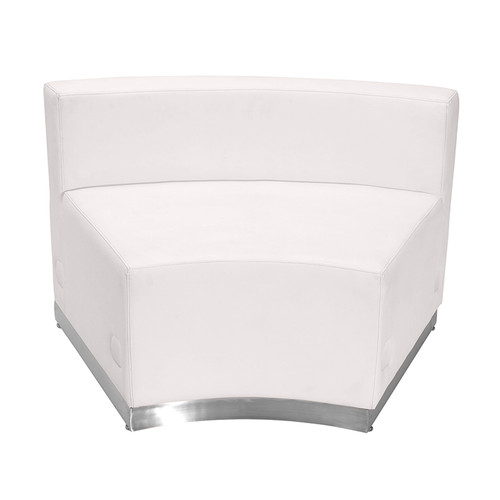 HERCULES Alon Series Melrose White LeatherSoft Concave Chair w/Brushed Stainless Steel Base